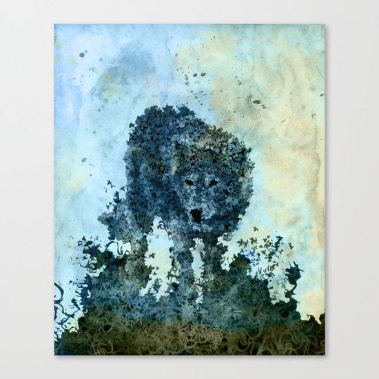 floral animals wolf Canvas Print