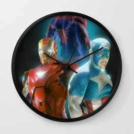 Civil War featuring Captain America, Spiderman, & Ironman Wall Clock
