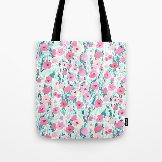 Flower Field Pink Mint Tote Bag