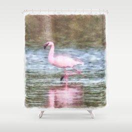 Lesser Flamingo Watercolor Shower Curtain