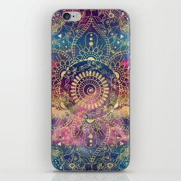 Gold watercolor and nebula mandala iPhone Skin