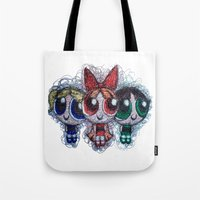 powerpuff girls Tote Bags featuring powerpuff girls doodle/scribble by Patricia Pedroso