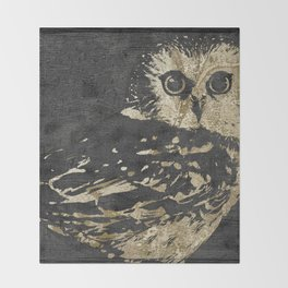 Golden Owl Throw Blanket