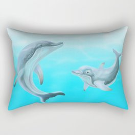Dolphins Swimming in the Ocean Rectangular Pillow