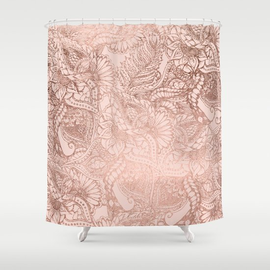 Modern Rose Gold Floral Illustration On Blush Pink Shower Curtain By Girly Tr