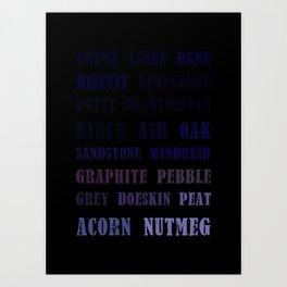 Paint Palette Typography - Gray & Brown Art Print