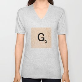 Scrabble Letter G - Scrabble Art and Apparel Unisex V-Neck