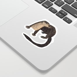 Otters of the World pattern in teal Sticker