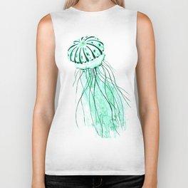 green jellyfish watercolor Biker Tank