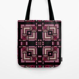 Abstract Pink Black Square Multi Pattern design Tote Bag