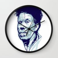 tom waits Wall Clocks featuring Tom Waits Portrait by Brian Yap