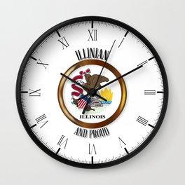 Illinois Proud Flag Button Wall Clock