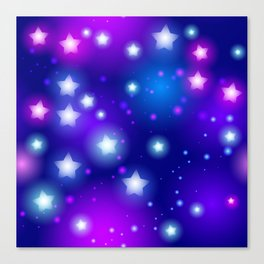 Milky Way Abstract pattern with neon stars on blue background Canvas Print