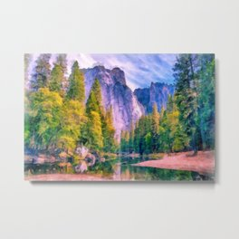 Mountain landscape with forest and river Metal Print