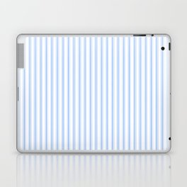 Mattress Ticking Narrow Striped Pattern in Pale Blue and White Laptop & iPad Skin