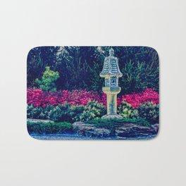 Oriental Garden with Birdhouse Statue Bath Mat