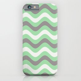 Pastel Green, Gray & Linen White Stripes Wavy Stripes Pairs to 2020 Color of the Year Neo Mint iPhone Case