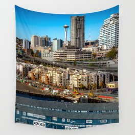 Seattle Space Needle and Aquarium Wall Tapestry