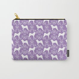Akita silhouette purple dog pattern florals cute dog portrait dog breeds akitas Carry-All Pouch