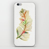 feather iPhone & iPod Skins featuring Feather by Klara Acel