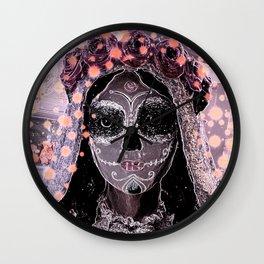 Novia Dia de los Muertos Estrellas Wall Clock