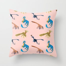 Repeating Dino Pattern Throw Pillow