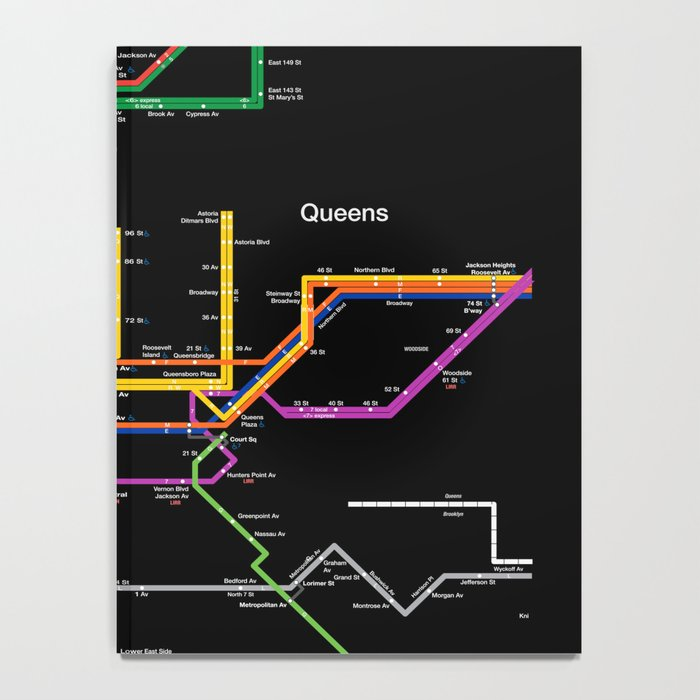 New York City subway map Notebook