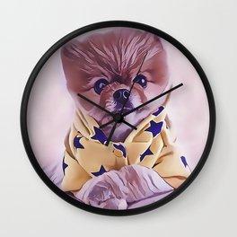 Pomeranian Wearing Pajamas Wall Clock