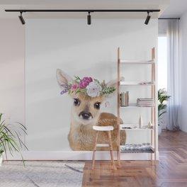 Baby Deer with Flower Crown Wall Mural
