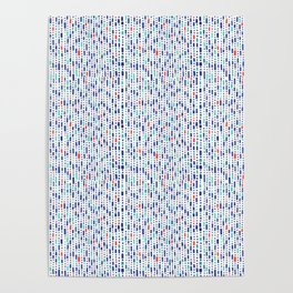 Cool Blue, Orange and Turquoise Geometric Pattern Poster