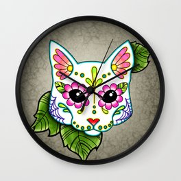 White Cat - Day of the Dead Sugar Skull Kitty Wall Clock