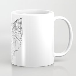 Ohio White Map Coffee Mug