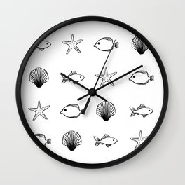Sea Creatures Pattern - Black Wall Clock