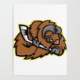 Musk Ox Ice Hockey Mascot Poster