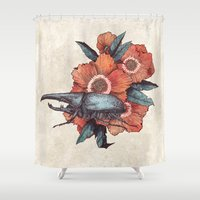 hercules Shower Curtains featuring Hercules Beetle by Angela Rizza