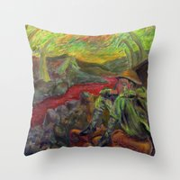nietzsche Throw Pillows featuring and again and again nietzsche by hankhenry