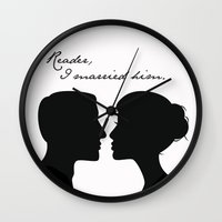 jane eyre Wall Clocks featuring Jane Eyre: Reader, I married him by AfterThisChapter