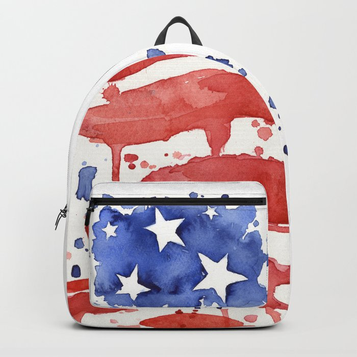 American Flag Watercolor Abstract Stars and Stripes Backpack