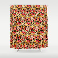 frida Shower Curtains featuring Frida by Bouffants and Broken Hearts