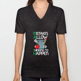 Math - Mistakes Allow Thinking to Happen Unisex V-Neck