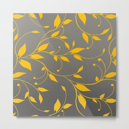 FLOWERY VINES | grey yellow Metal Print