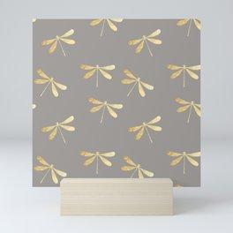 dragonfly pattern: gold & grey Mini Art Print