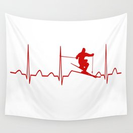 SKIING MAN HEARTBEAT Wall Tapestry