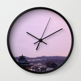 Pink Sky in Seoul Wall Clock