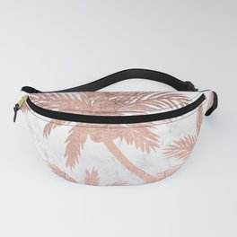 Tropical simple rose gold palm trees white marble Fanny Pack
