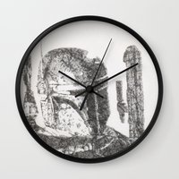 boba Wall Clocks featuring Boba Fett by urbanexpressionist