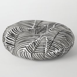 Tropical Palm Leaves – Black Palette Floor Pillow