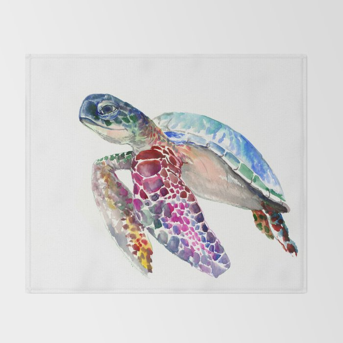 Sea Turtle, swimming turtle art, purple blue design animal art Throw Blanket