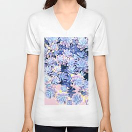 Cactus Fall - Blue and Pink Unisex V-Neck