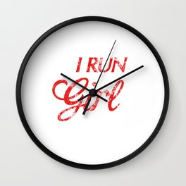 I Run Like a Girl Try To Keep Up Distressed Wall Clock